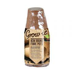 Grow It - 8cm Round Fibre Pots - Pack of 12