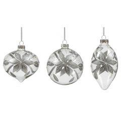 Premier - Silver Flower Decorated Bauble - 3 Asst
