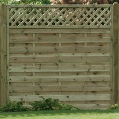 KDM horizontal Lattice Top Fence Panels with Planed & Ribbed Continental Post