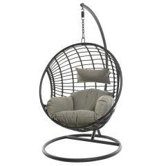 Kaemingk London Hanging Wicker Chair - Black