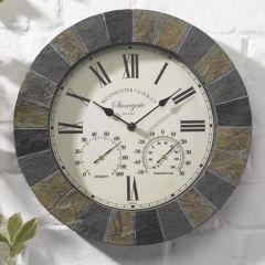 Smart Garden - Stonegate Slate Wall Clock & Thermometer
