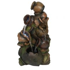 Hamac - Stacked Pouring Brown Pots Water Feature inc LEDS