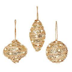 Premier - Gold Glitter Trim Bauble 3 Asst