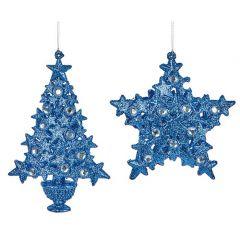 Premier - Blue Glitter Tree Decorations -2 Asst