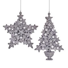 Premier - Silver Glitter Tree Decorations -2 Asst